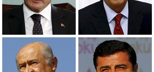 A combination of file pictures shows leaders of Turkish political parties (clockwise from top L) Prime Minister Ahmet Davutoglu of the AK Party in Istanbul October 14, 2015; Kemal Kilicdaroglu of the main opposition Republican People's Party (CHP) in Ankara June 23, 2015; Selahattin Demirtas of the pro-Kurdish Peoples' Democratic Party (HDP) in Istanbul August 9, 2015 and Devlet Bahceli of the Nationalist Movement Party (MHP) in Istanbul May 31, 2015. Turkey holds its second general election of the year on Nov. 1, a snap vote which President Tayyip Erdogan hopes will see the ruling AK Party win back the majority it lost five months ago. REUTERS/Murad Sezer, Umit Bektas/Osman Orsal/Files